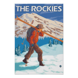Esquís de la nieve del esquiador que llevan - los  póster