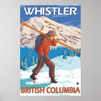 Esquís de la nieve del esquiador que llevan - marm posters