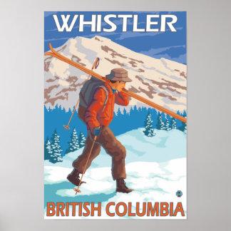 Esquís de la nieve del esquiador que llevan - marm póster