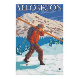 Esquís de la nieve del esquiador que llevan - Oreg Póster