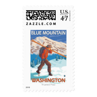 Esquís de la nieve del esquiador que llevan - sello