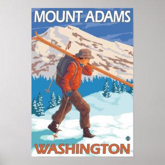 Esquís de la nieve del esquiador que llevan - sopo póster