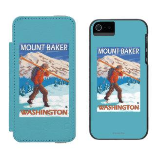 Esquís de la nieve del esquiador que llevan - funda cartera para iPhone 5 watson