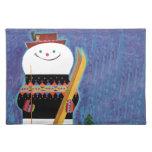 Esquís para el muñeco de nieve manteles individuales
