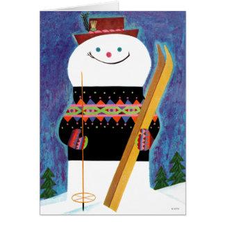 Esquís para el muñeco de nieve tarjeton