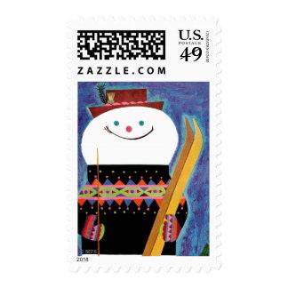 Esquís para el muñeco de nieve timbre postal