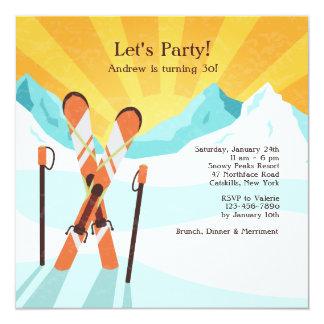 Esquís que cruzan la invitación