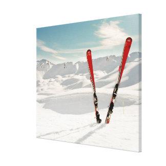 Esquís rojos impresión en lienzo estirada