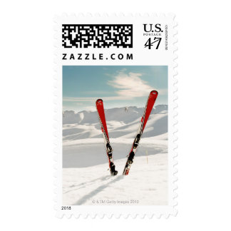 Esquís rojos sello