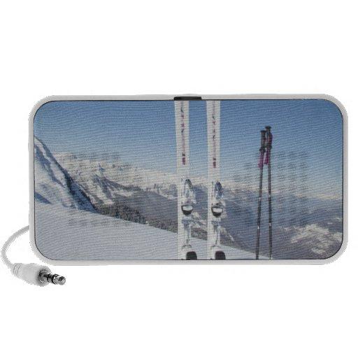 Esquís y esquí postes iPod altavoces