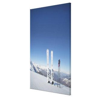 Esquís y esquí postes impresiones en lona