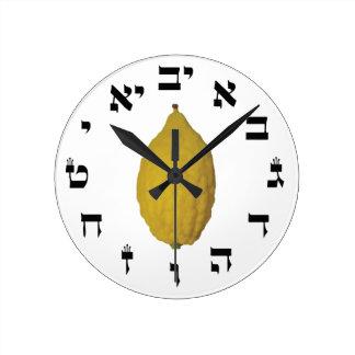 Esrog With Hebrew Time Round Clocks