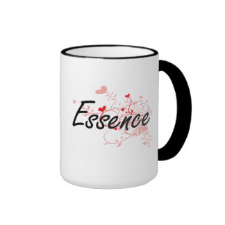 Essence Artistic Name Design with Hearts Ringer Coffee Mug