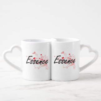 Essence Artistic Name Design with Hearts Couples' Coffee Mug Set