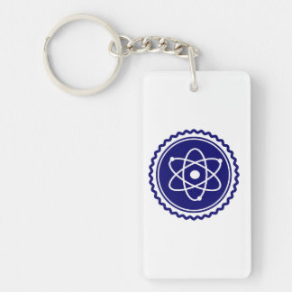 Essential Blue Atomic Model Seal Double-Sided Rectangular Acrylic Keychain