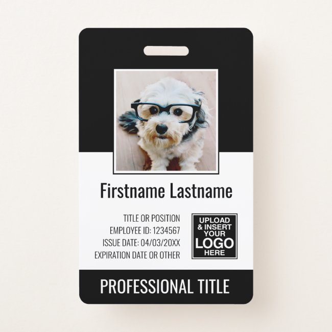 Essential Employee - Photo, Bar Code, Logo, Title Badge