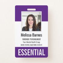 Essential Employee Photo ID Security Badge