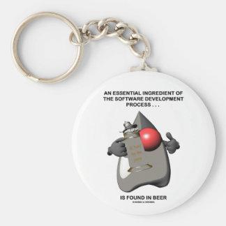 Essential Ingredient In Software Development Beer Basic Round Button Keychain