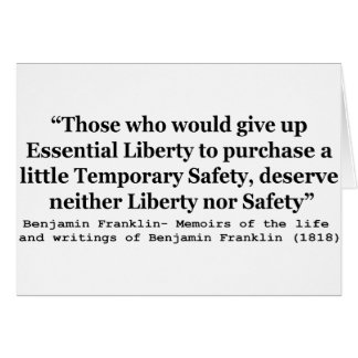 Essential Liberty and Temporary Safety Franklin Card
