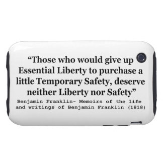 Essential Liberty and Temporary Safety Franklin iPhone 3 Tough Case