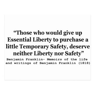 Essential Liberty and Temporary Safety Franklin Postcard