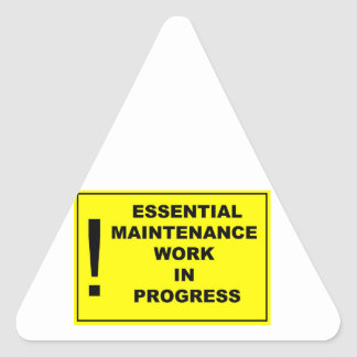Essential maintenance work in progress triangle sticker