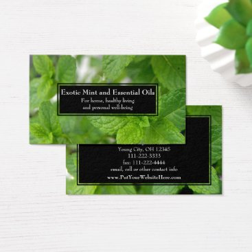 Professional Business Essential Oils Business Wellness Holistic Mint Business Card