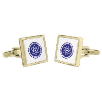 Essential Science Blue Atomic Badge Gold Cufflinks