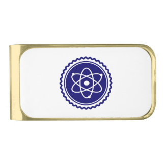 Essential Science Blue Atomic Badge Gold Finish Money Clip