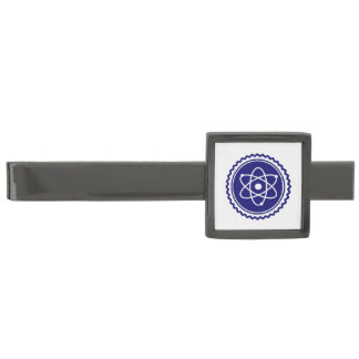 Essential Science Blue Atomic Badge Gunmetal Finish Tie Bar