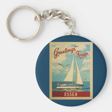 Essex Sailboat Vintage Travel Connecticut Keychain
