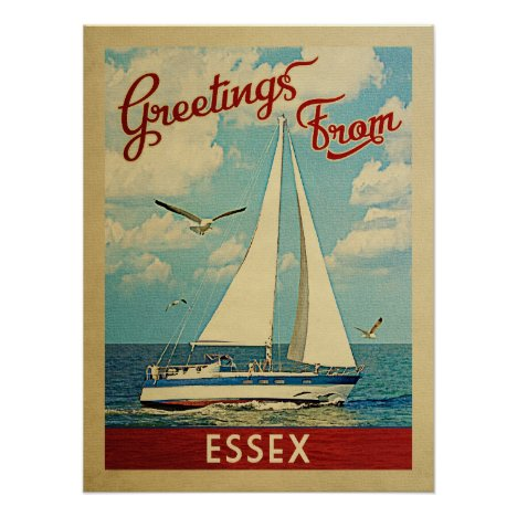 Essex Sailboat Vintage Travel Connecticut Poster