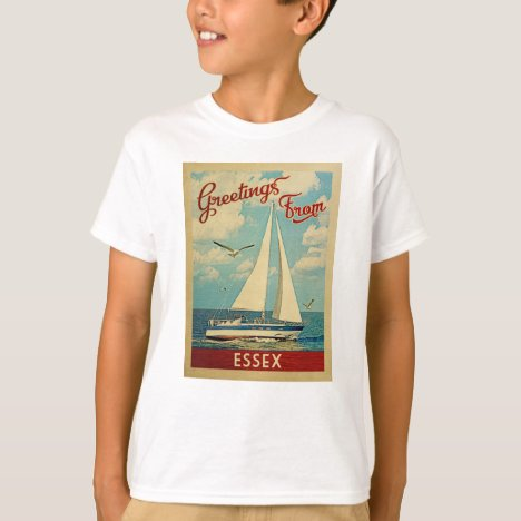 Essex Sailboat Vintage Travel Connecticut T-Shirt