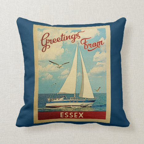 Essex Sailboat Vintage Travel Connecticut Throw Pillow
