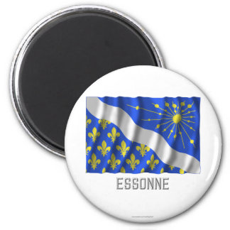 Essonne waving flag with name 2 inch round magnet