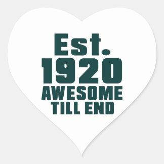 Est. 1920 awesome till end heart sticker