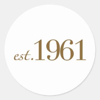Est 1961 (Birth Year) Classic Round Sticker