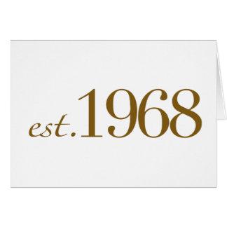 Est 1968 tarjeta de felicitación