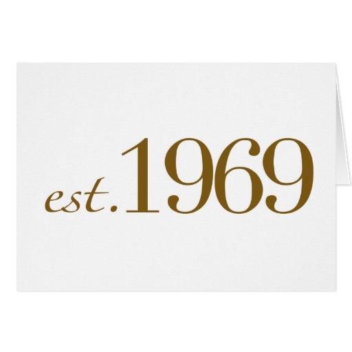 Est 1969 tarjeta de felicitación