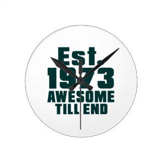 Est. 1973 awesome till end round wallclocks