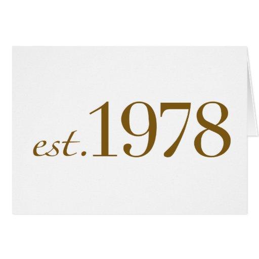 Est 1978 tarjeta de felicitación