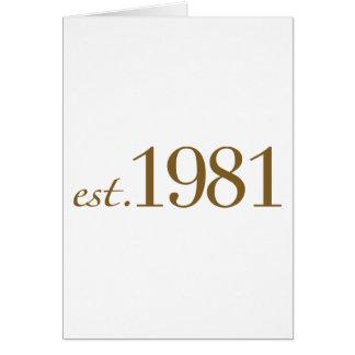 Est 1981 (Birth Year) Greeting Card