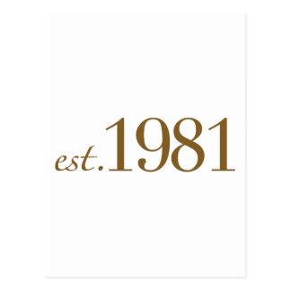 Est 1981 (Birth Year) Postcard