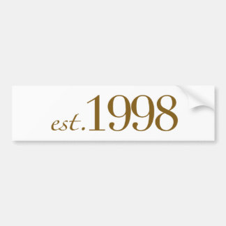 Est 1998 car bumper sticker