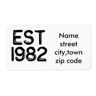 est birthday 1982 baby custom shipping labels