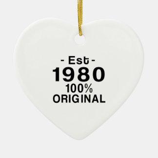 Est. el an o 80 adorno navideño de cerámica en forma de corazón