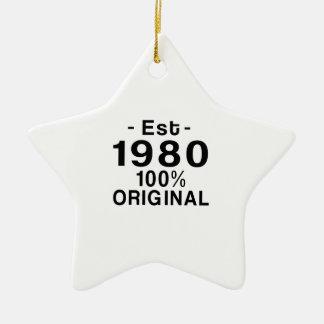 Est. el an o 80 adorno navideño de cerámica en forma de estrella