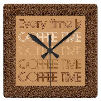 Está cada vez el tiempo del café reloj cuadrado