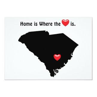 """Está donde el hogar el corazón CAROLINA DEL SUR Invitación 5"""" X 7"""""""