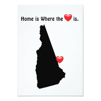"""Está donde el hogar el corazón NEW HAMPSHIRE Invitación 5"""" X 7"""""""